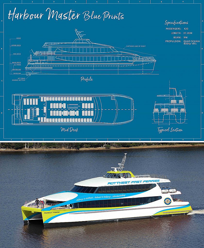 Blueprints of Rottnest Fast Ferries' new vessel - the harbour master